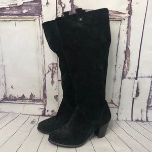 UGG black suede heeled tall boots 8.5